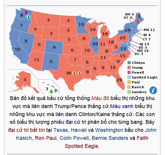 Các bang theo đảng DC và CH theo KQ bầu cử TT Mỹ 2016
