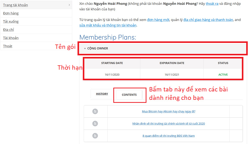Trang tài khoản thành viên Cộng+ Owner