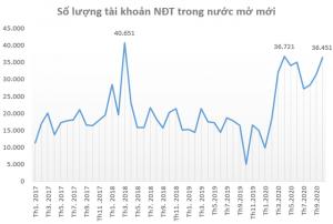Dữ liệu về TK CK mới dc mở theo thời gian